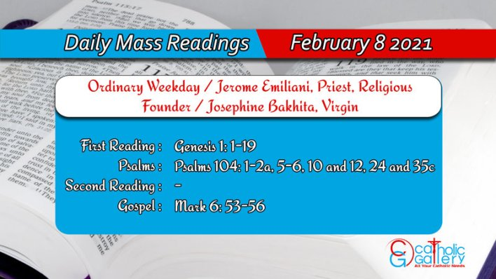 Catholic Daily Mass Readings 8th February 2021 Online Today Monday