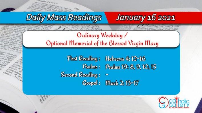 Catholic Daily Mass Readings 16th January 2021 Online