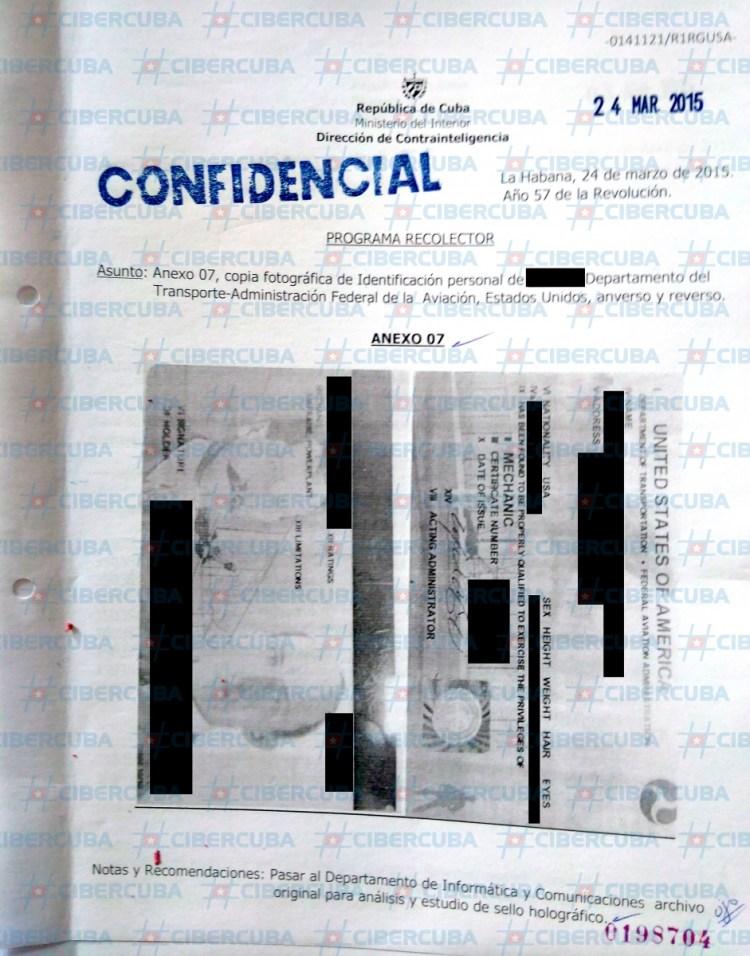 Documento filtrado de la seguridad del estado de Cuba sobre el Aeropuerto Internacional de Miami.