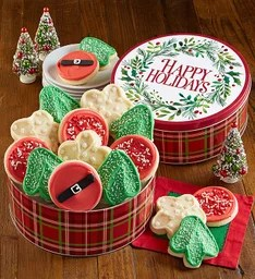 Happy Holidays Gift Tin Holiday Frosted Cut-Out Assortment
