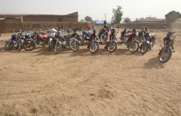 Terrorists motorcycles seized by the troops in Chalawa,  Sambisa forest during one of the operations last week