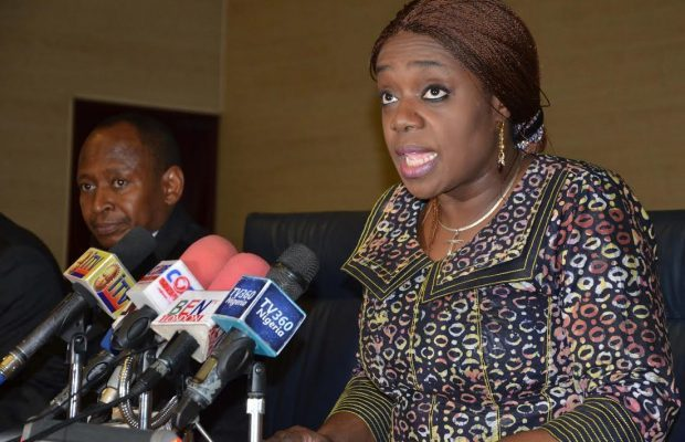 Pic.8. Minister of finance, Mrs Kemi Adeosun, DELIVERING HER SPEECH at a workshop on cost management on overhead for permanent secretaries and chief executive officers of departments and federal government agencies in Abuja on Thursday (13/10/16). With her is the accountant-general of the federation, Alhaji Ahmed Idris.