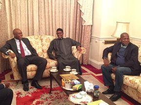 Image result for Saraki, Dogara meet Buhari in London