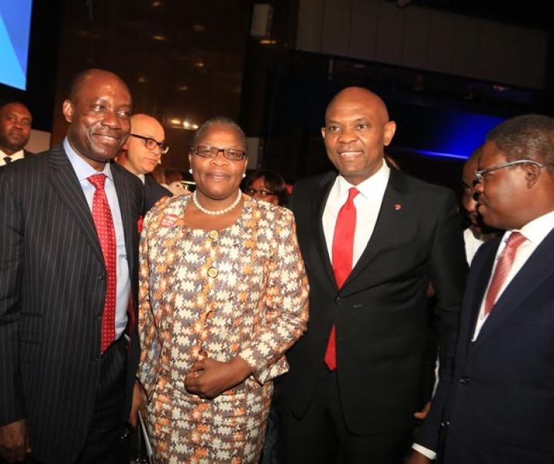 L-R: Former Governor Central Bank of Nigeria, Professor Charles Soludo; Former Minister for Education, Dr. Oby Ezekwesili; Chairman, UBA Group Tony O. Elumelu and Former commissioner of Finance in Lagos State, Ayo Gbeleyi at the gala in Abuja on Monday in celebration of Africa Finance Corporation's 10th year Anniversary