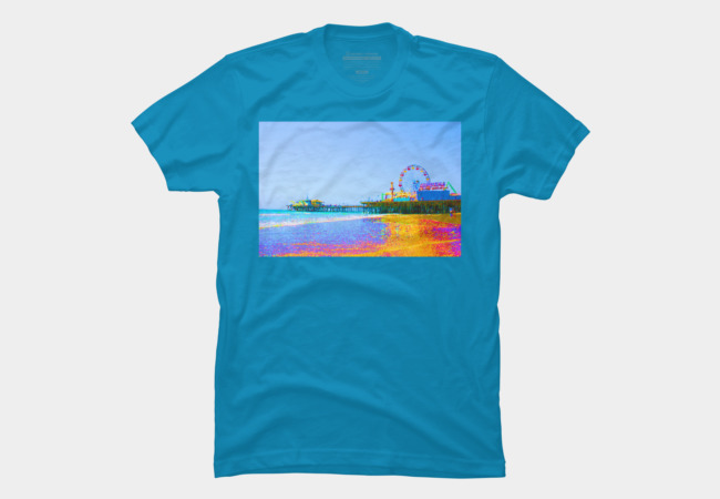 Funky Pixels Santa Monica Pier T-Shirt available on Design by Humans, designed by stine1online