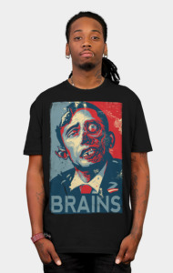 "Betcha didn't know that Barack Obama had a twin zombie brother who was also running for president a few years ago, didya? Alas, his platform was far too simple, and his rallying cry of ""Brains..."" lost to Barack's more popular and inspiring ""Hope"". What's a zombie to do?"