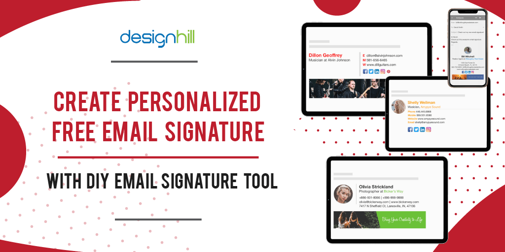 Outlook, office 365, exchange server, gmail or thunderbird. Free Email Signature Generator Templates By Designhill