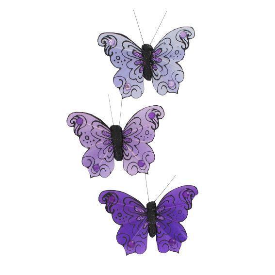 lot de 3 papillons certia violet