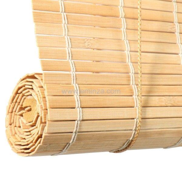 store enrouleur a lattes 40 x 180 cm bambou naturel