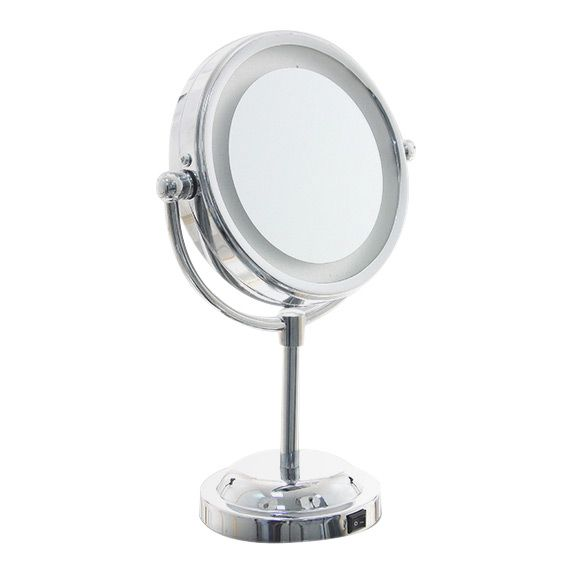 Miroir Grossissant Lumineux Argent Accessoire Salle De Bain Eminza