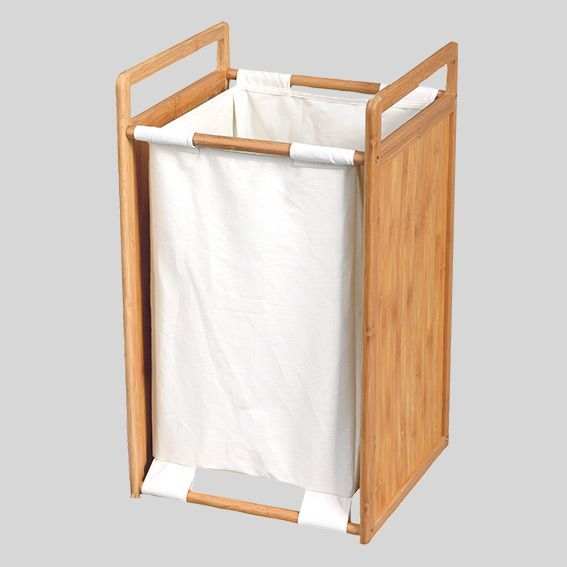 Panier A Linge Bois Et Tissu Blanc Rangement Eminza