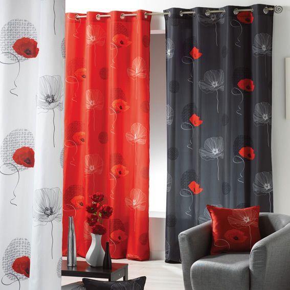 rideau 140 x h260 cm poppy rouge