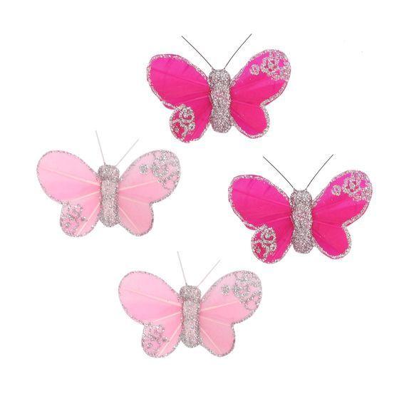 lot de 4 papillons hawai fuchsia