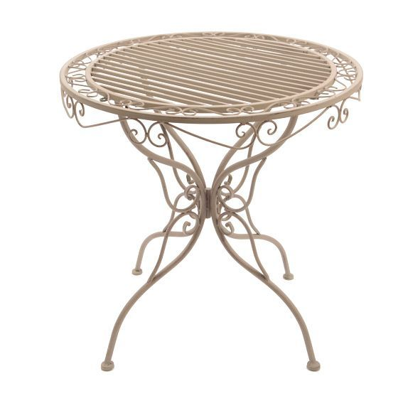 table ronde louise style fer forge taupe