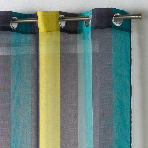 voilage 140 x h240 cm bayadere riviera anthracite et bleu