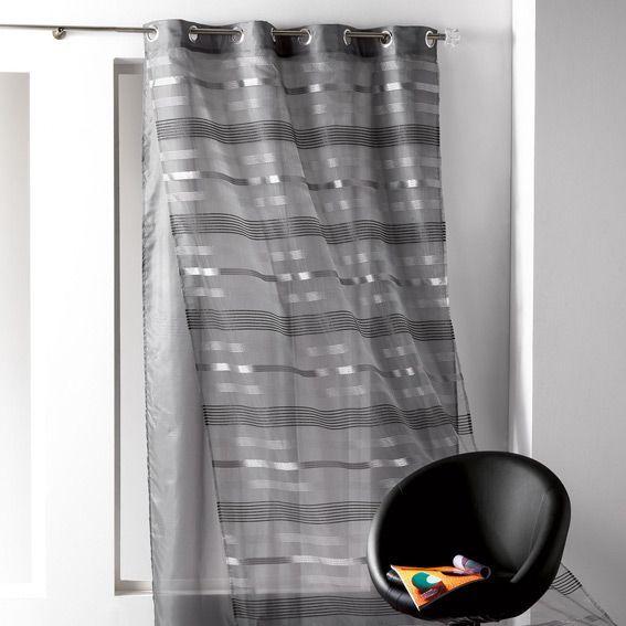 voilage 140 x h240 cm double tamara noir