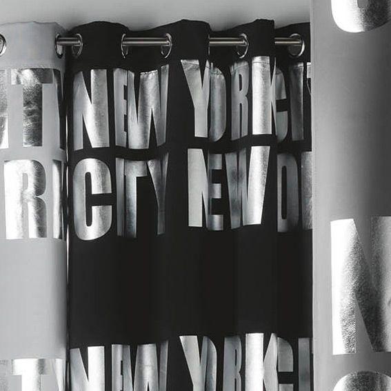 rideau occultant 140 x h260 cm ny silver noir