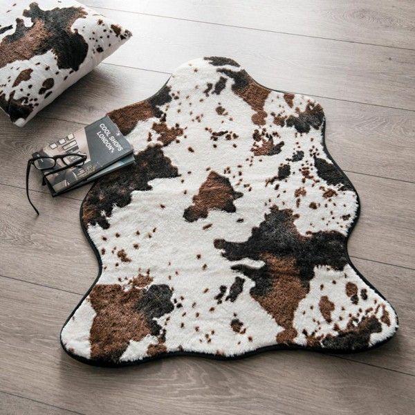 tapis peau de bete 90 cm imitation fourrure vache