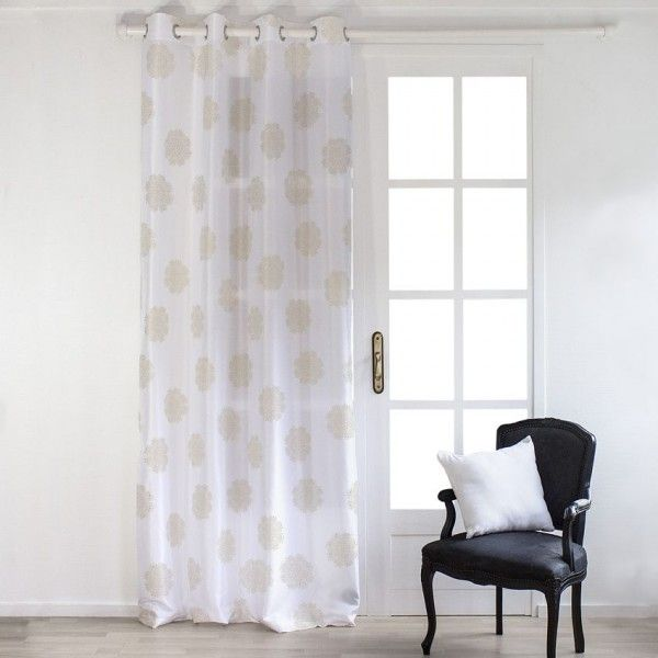 rideau tamisant 140 x 240 cm dolly flore blanc or