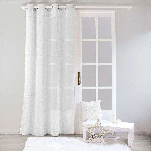 voilage 140 x 240 cm effet lin blanc