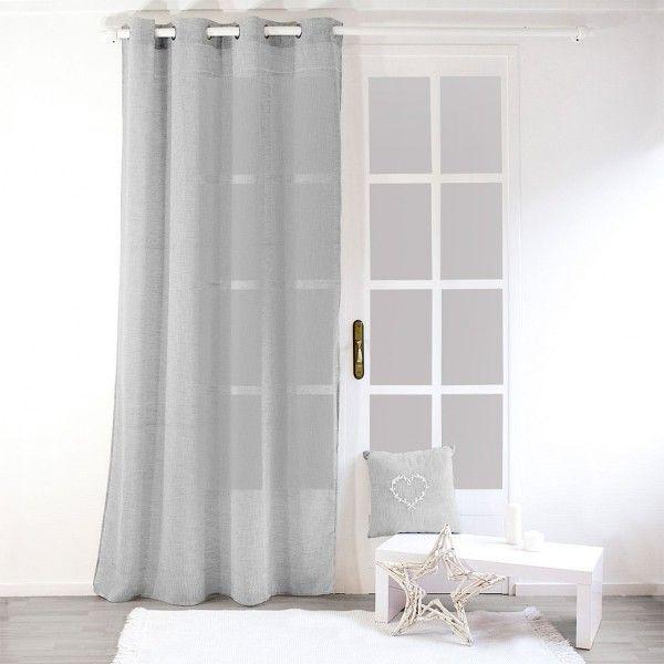 voilage 140 x 240 cm effet lin gris