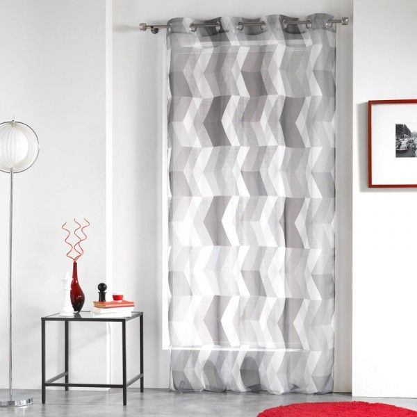 voilage 140 x h 240 cm ultragraphic noir et blanc