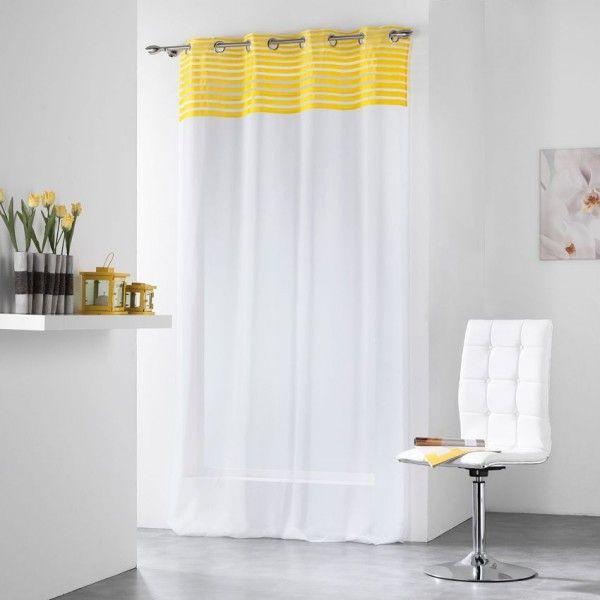 voilage rayures 140 x 240 cm sally jaune