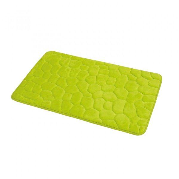 tapis memoire de forme galet vert anis