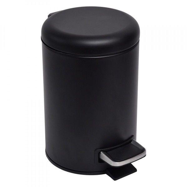 poubelle a pedale addax noir mat
