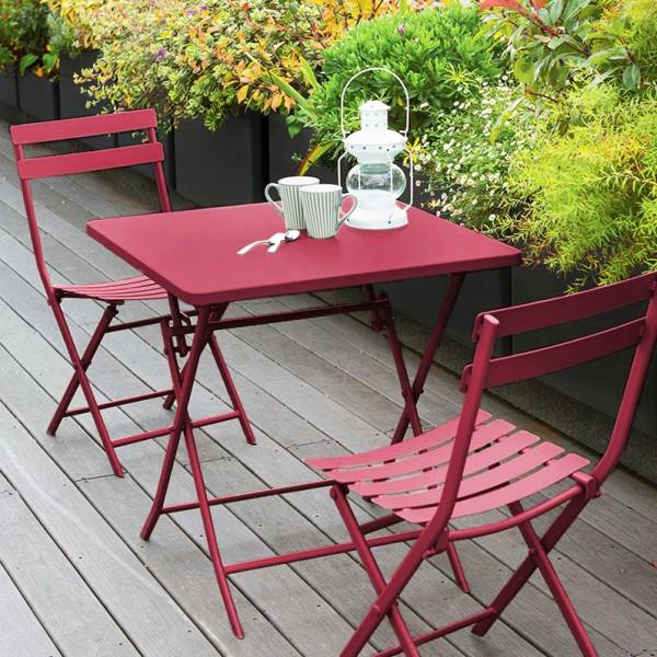 table de jardin pliante carree metal greensboro 70 x 70 cm rouge