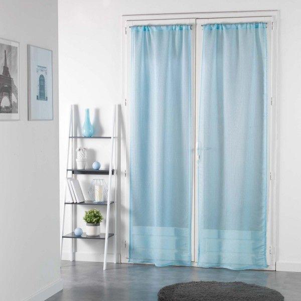 paire de voilages 70 x 240 cm pointille bleu ciel