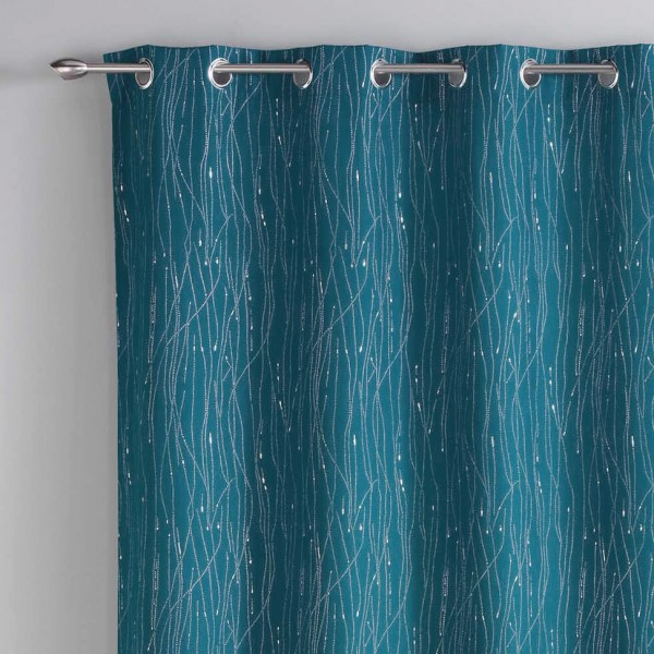 rideau tamisant 140 x 260 cm filiane bleu petrole