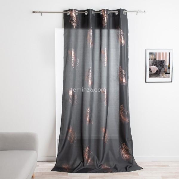 rideau tamisant 140 x 280 cm sensalia gris anthracite