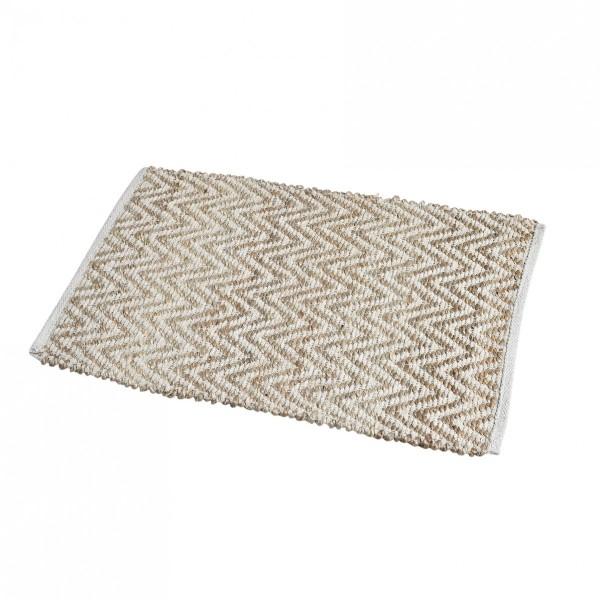 tapis jute 80 cm zig zag blanc