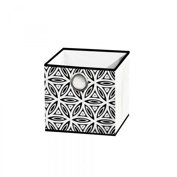 panier de rangement 12 x 12 cm graphic jungle noir et blanc