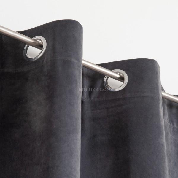 rideau tamisant 140 x 260 cm velours gris fonce