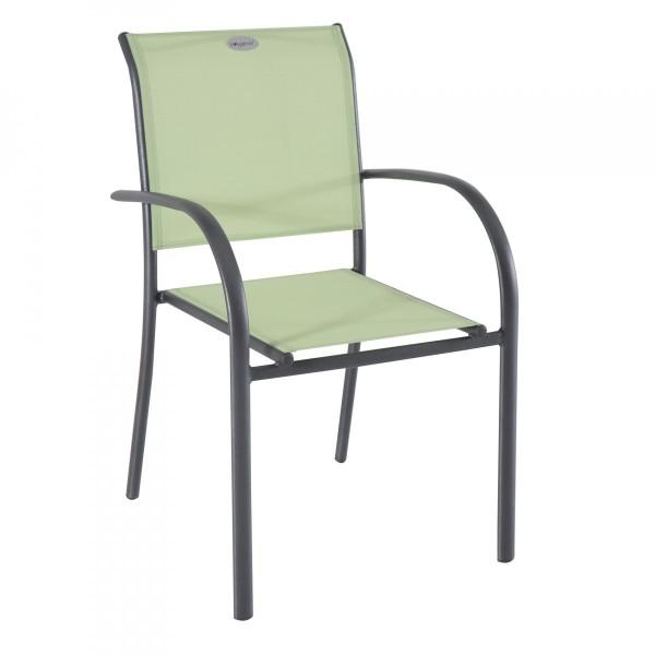 fauteuil de jardin alu empilable piazza vert amande gris graphite
