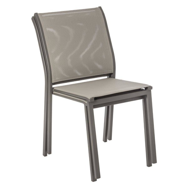 chaise de jardin alu empilable essentia marron noisette marron tonka