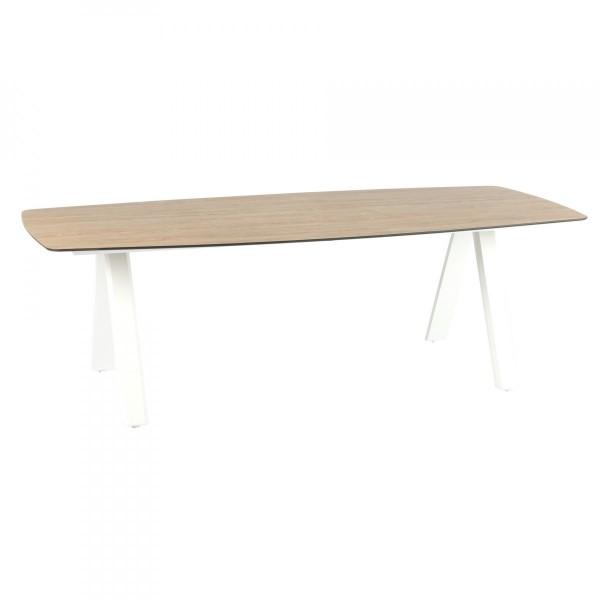 table de jardin hpl barcelone 232 x 110 cm blanc