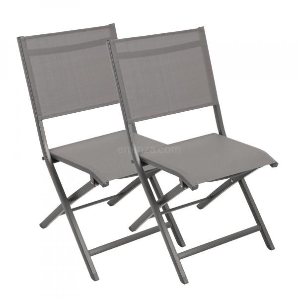 lot de 2 chaises alu pliantes brevia gris taupe