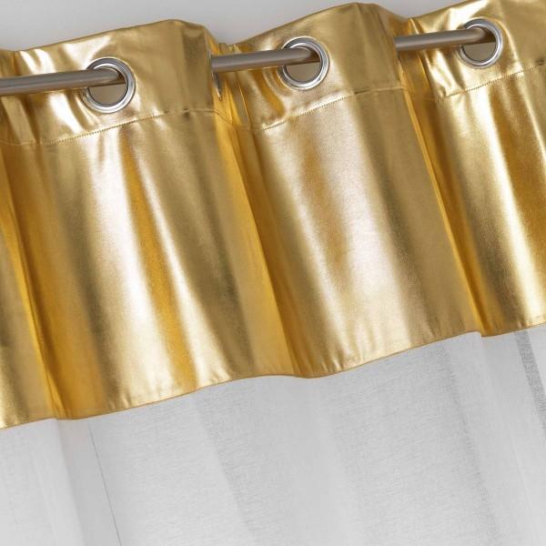 voilage 140 x 240 cm metallic blanc et or