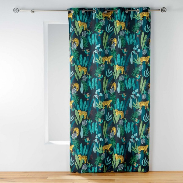 rideau tamisant 140 x 260 cm mystic jungle bleu et vert