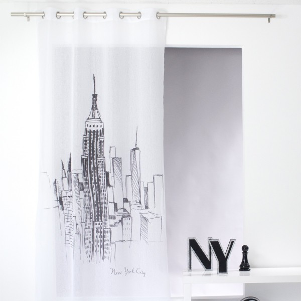 voilage 140 x 240 cm new york blanc