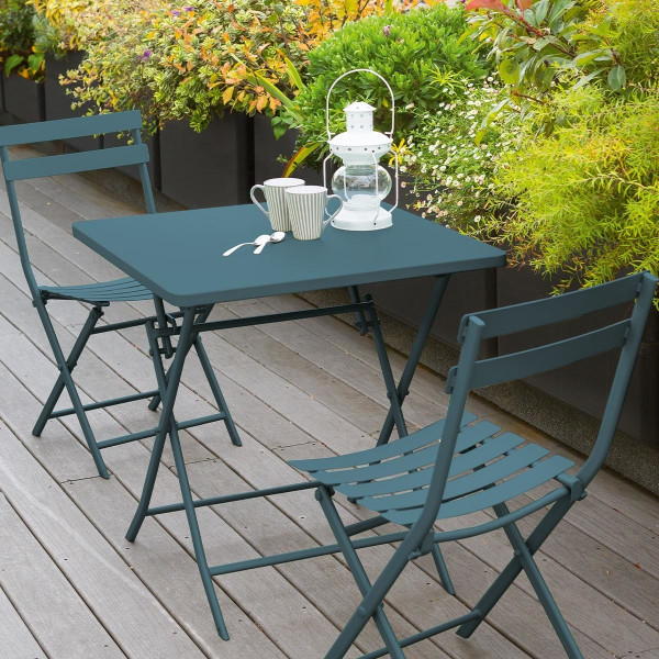 table de jardin pliante carree metal greensboro 70 x 70 cm bleu canard