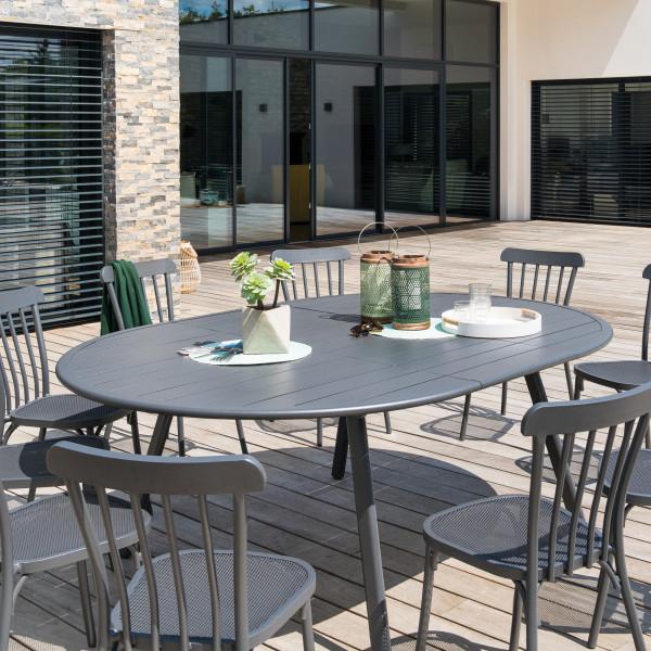 table de jardin extensible ovale aluminium ellipsa gris graphite