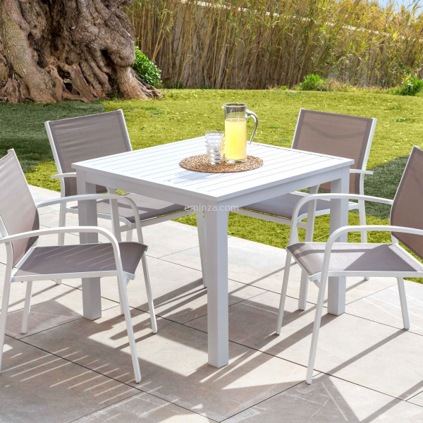 table de jardin 4 places aluminium murano 89 x 89 cm blanche