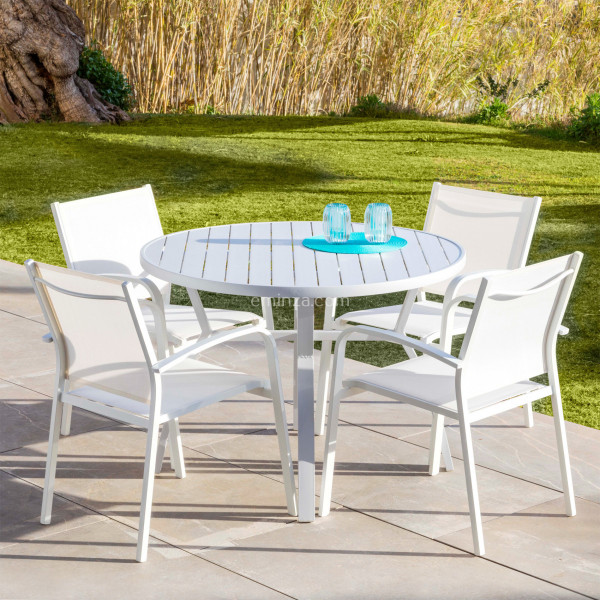 table de jardin 5 places aluminium murano d105 cm blanche