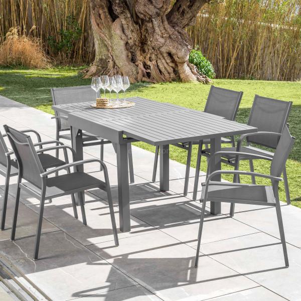 table de jardin extensible 8 places aluminium murano 180 x 90 cm gris ardoise