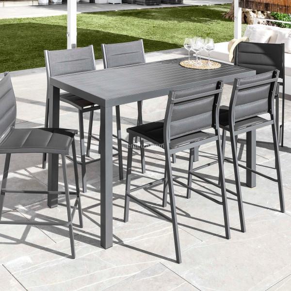 table haute 6 places aluminium murano gris anthracite
