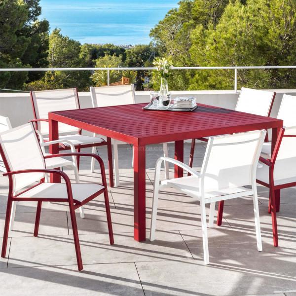 table de jardin 8 places aluminium murano 136 x 136 cm rouge